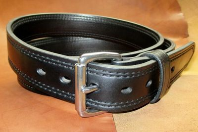 "Double stitched dual layer carry belt with stainless steel flat roller buckle 1/4"" thick"