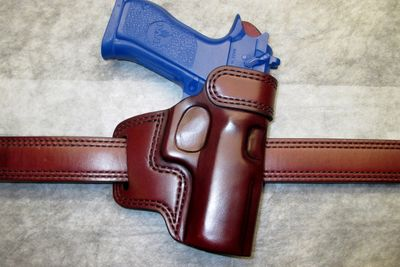 Magnum Research Baby Desert Eagle Avenger holster with reinforced throat Wickett & Craig Mahogany