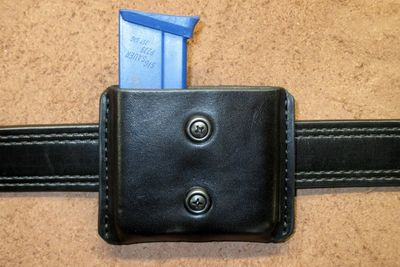 Double magazine pouch rear straps and tension screw adjustment Black Wickett & Craig leather.