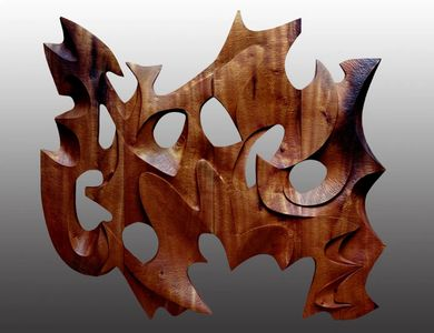 Marinus carved myrtlewood wall sculpture
