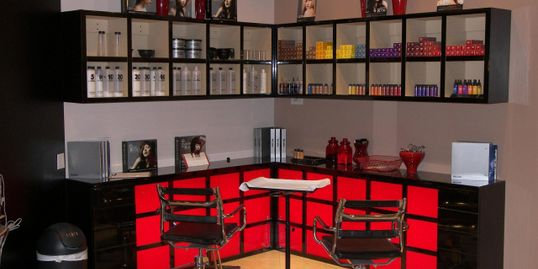 Salon Rouge, Fullerton, CA, uses Paul Mitchell color products.