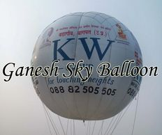KW group Sky Balloon for Baghpat, White color helium gas filed advertising sky balloon.