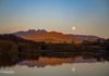 """Dusk Supermoon Rise"" - The Blue Moon rises and reflects in the Salt River, in Tonto National Forest, Arizona, USA."