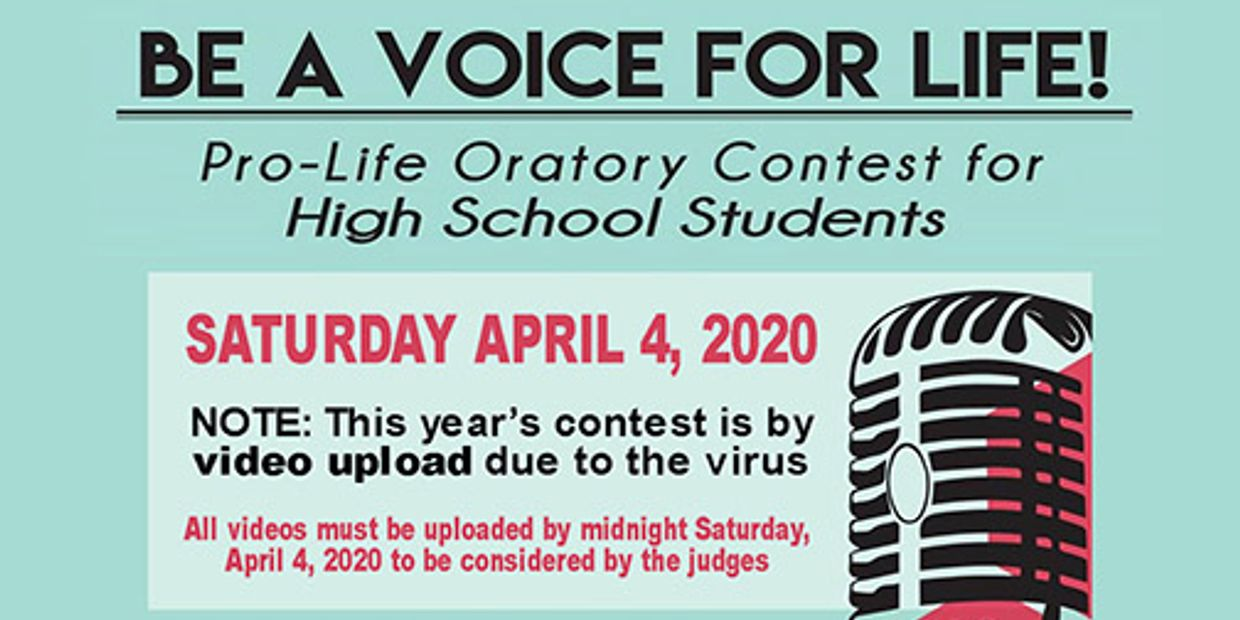 WILSON CO. RIGHT TO LIFE 2020 PRO-LIFE ORATORY CONTEST IS VIA VIDEO UPLOAD DUE TO VIRUS