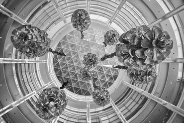black and white photography,  Gerald Hill photography, architecture, Devon Energy Center, rotunda