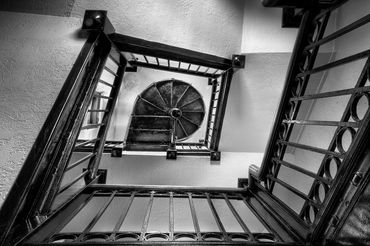 black and white photography,  Gerald Hill photography, architecture, old staircase  Kansas Masonic