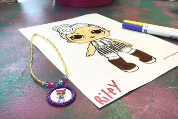 LOL Dolls Glitter Jewelry Kid's Party at Just Bead Yourself in Westfield, NJ Fun Birthday Necklace