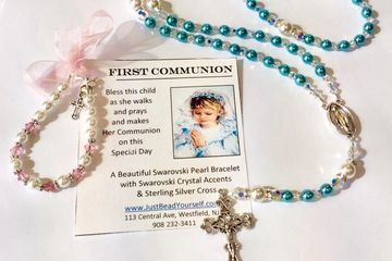 Rosary and Communion Bracelet Class Just Bead Yourself in Westfield NJ Do It Yourself Adult Kids Fun
