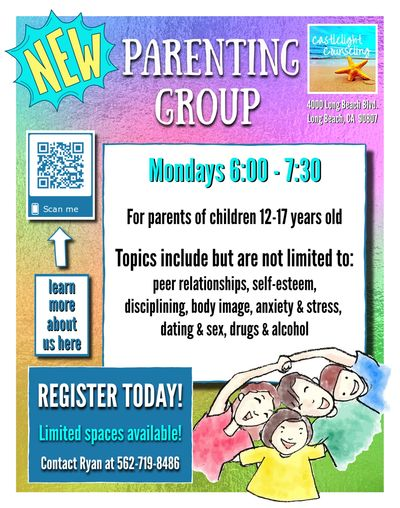 Parenting group for parents of kids 12-17.  Topics include self-esteem, disciplining, stress, & more