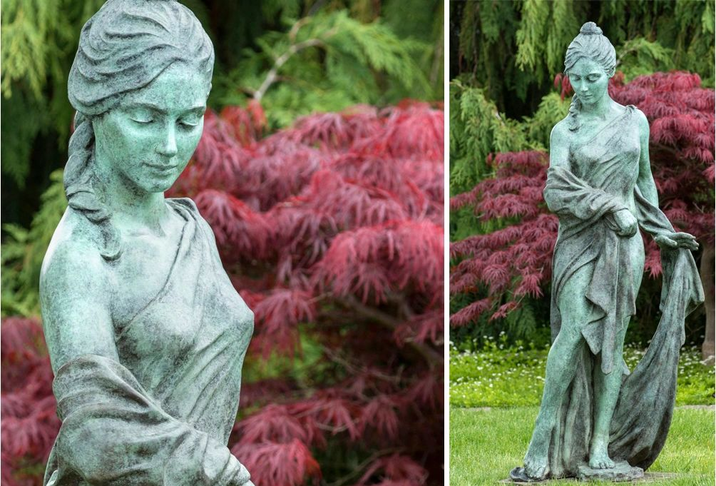 Cascade is a 3/4 life-size bronze female figure finished with a Spanish Moss Patina by Donna Mayne