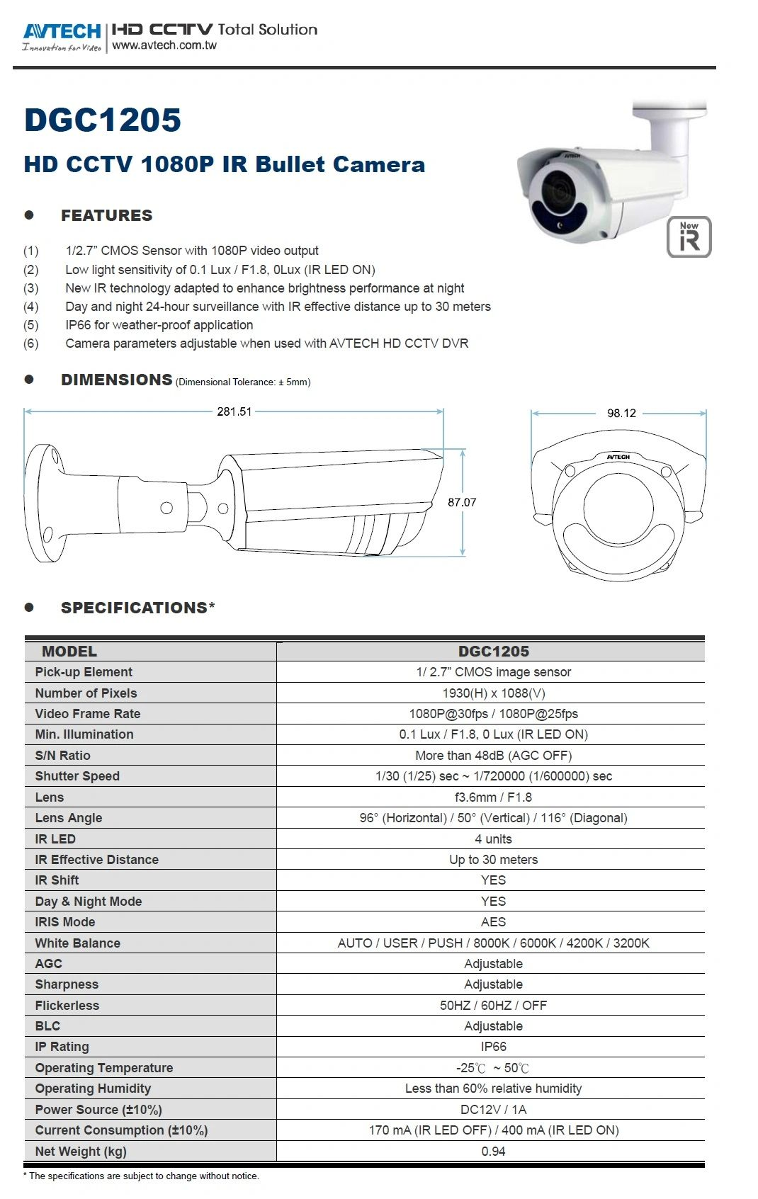 Details about AVTECH DGC1205 TVI IR Bullet 1080P 3 6mmLens,Low Light, Wide  Angle,IP66 Outdoor