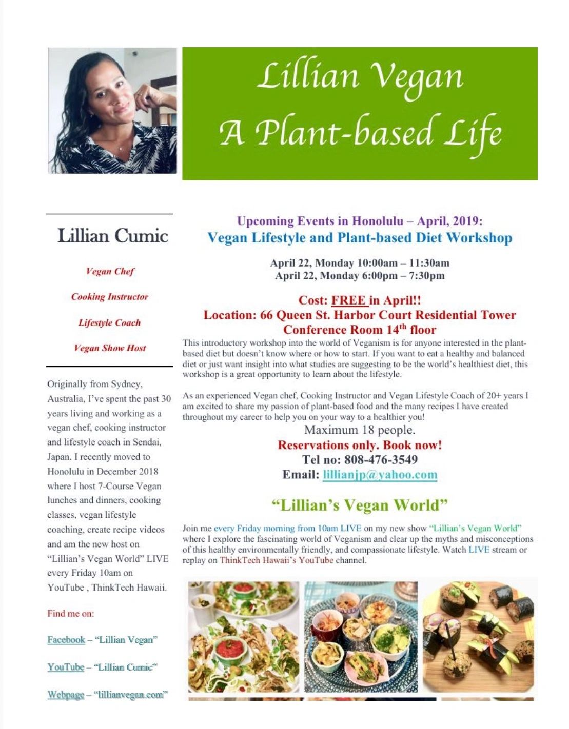 VEGAN WORKSHOP APRIL 22nd