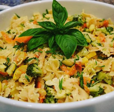 Alexia's protein Farfalle (bow tie) Pasta Primavera! This a delicious, healthy and colorful dish!