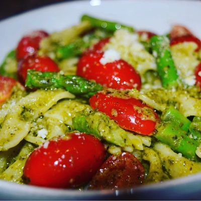 Alexia's beautiful Farfalle Pasta w/Pesto Sauce, Grape Tomatoes, Fresh Asparagus & Pecorino Romano!