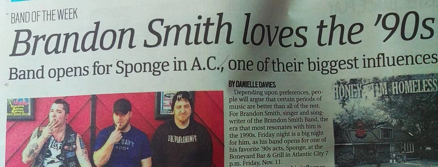 Honey, I'm Homeless (Brandon Smith Band) as Band of The Week in Press of Atlantic City