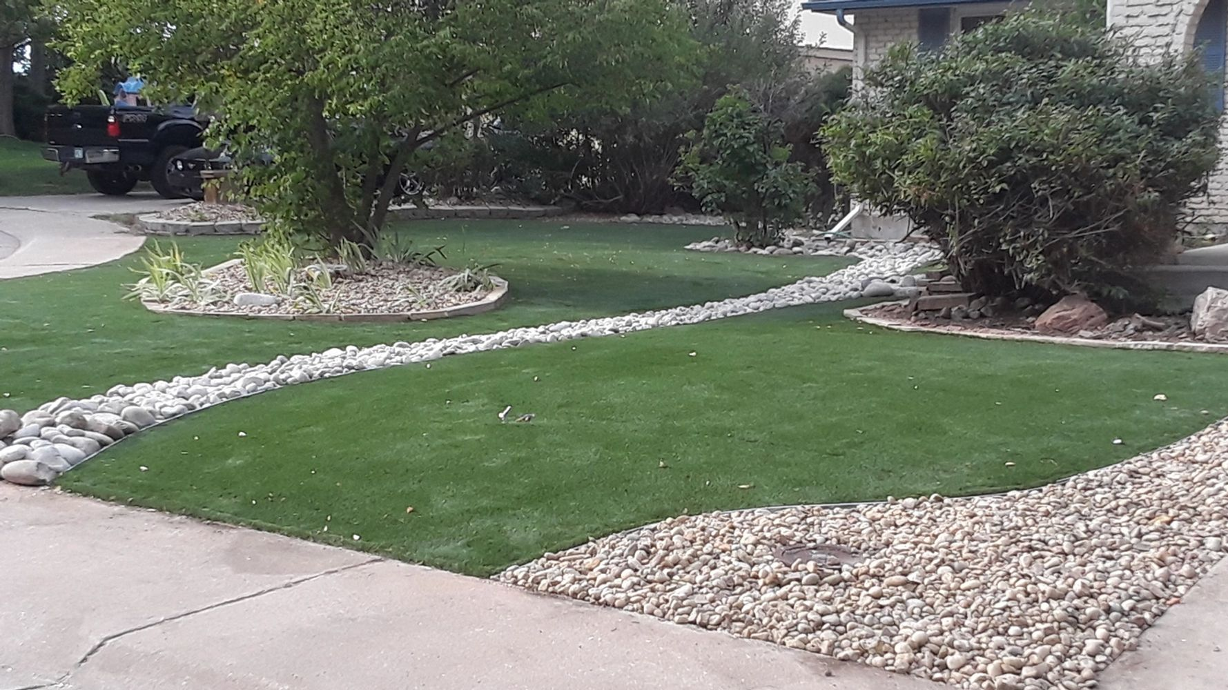 Artificial turf and rock installation
