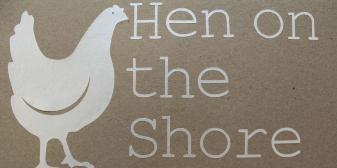 Hen on the shore logo fused glass handmade