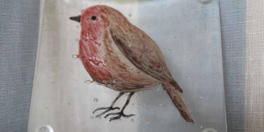 Hand painted glass robin