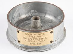 "Made from a 5"" shell fired from Battleship USS New Jersey BB-62 at Beirut, Lebanon February 7th 1983"