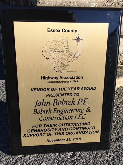 We are honored to have received the Essex County Highway Association's Vendor of the Year Award