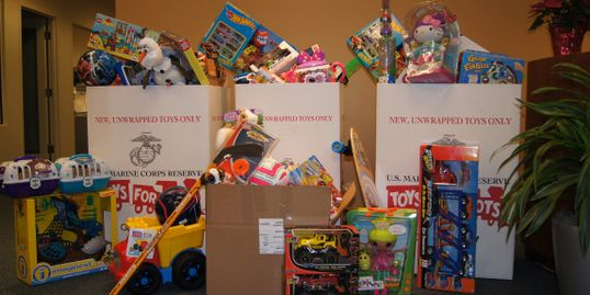 Toys collected by the toy run committee for distrubution to families