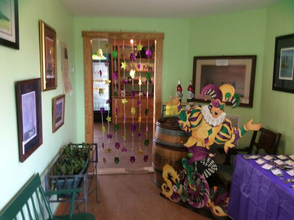 Mardi Gras Jester, decorations, entrance into The Hague Winery Tasting Room.