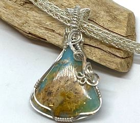 Sterling silver wire wrapped Regency Plume Agate