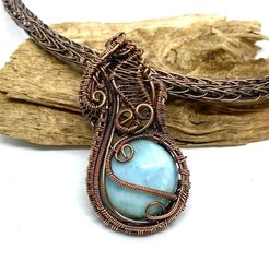 Copper wire woven Larimar in a hand woven Viking knit chain