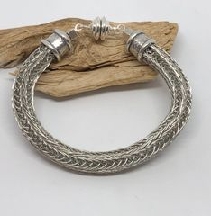 Triple Woven Viking knit bracelet with a strong magnetic clasp. $50