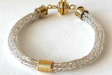 Wire woven Viking Knit with coiled center. Strong Magnetic Clasp