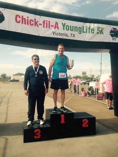 Dennis wins 1st Place in Chick-Fil-A Young Life 5K Run in Victoria, Texas!!