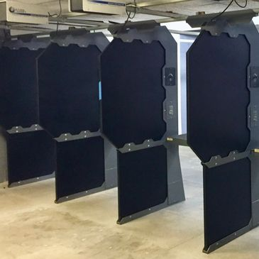 Indoor shooting range, 25 yards, 10 lanes.