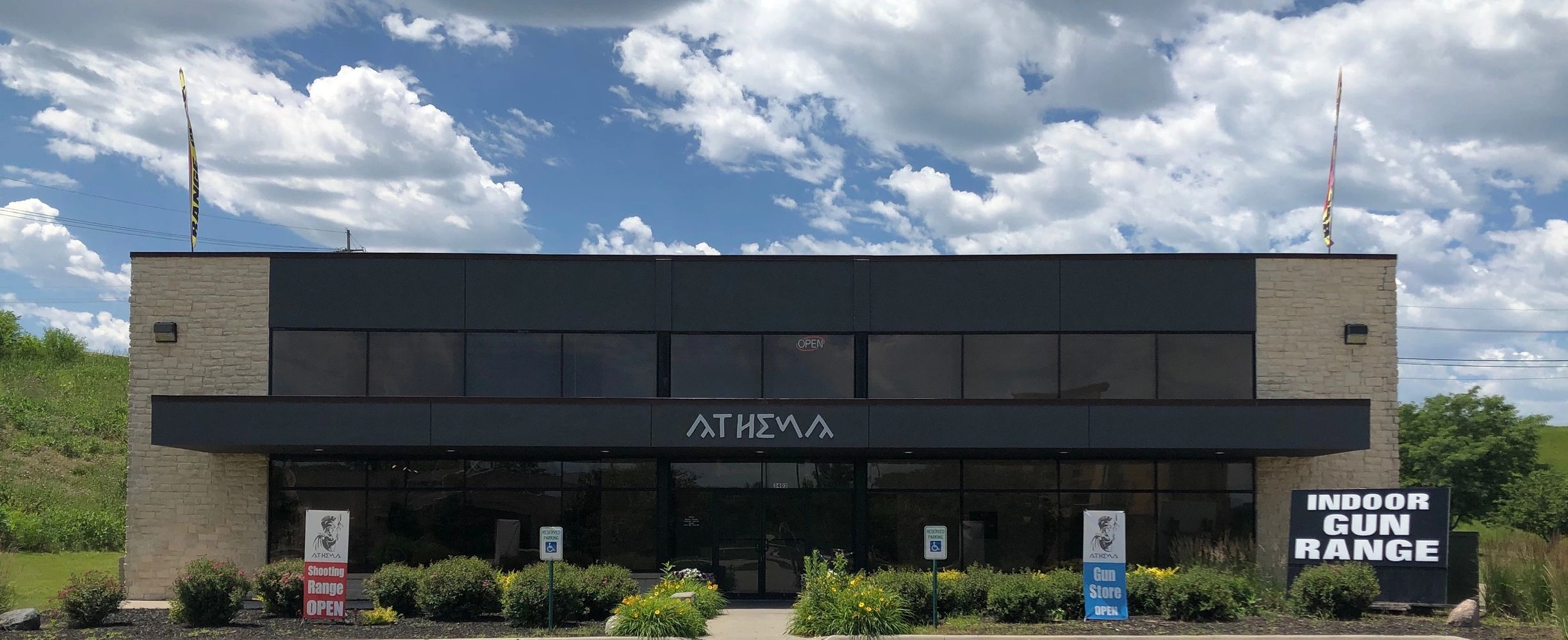 Athena Arms indoor shooting range, gun club, firearms store, training center.