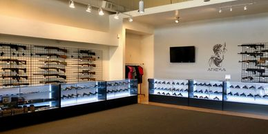 Athena Arms pro shop, gun club, firearms sales and service.