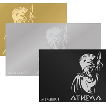 Stainless steel Athena Arms membership cards.