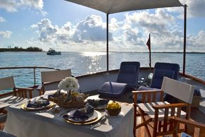 table setup for lunch on the fwd deck on Bonaparte