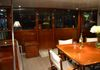 The aft deck dining area at night