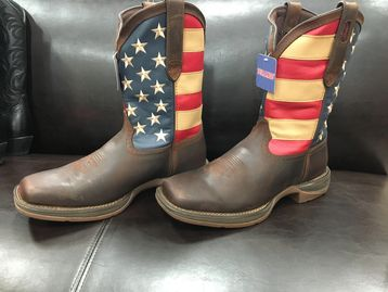 Patriotic Pull-on Western Flag Boots.  All day comfort, flexibility and durability is guaranteed wit
