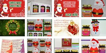 Let's Celebrate Christmas with India in a Jar. An assortment of sweet, savoury, medium spiced jars