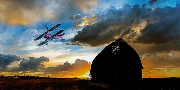 photoshop layers barn biplane wing walker sky sunset