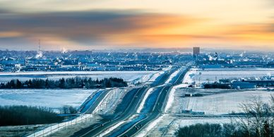Grande Prairie, landscape, winter, snow, sunrise, city.