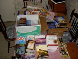 Books, DVD's, art supplies and the Jesus film for the project in Spain.