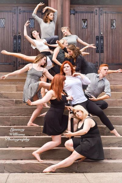 The 2018-2019 B&F Dance Collective on the steps of the Waller St entrance to the church