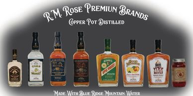 A photo of all of the products that R.M. Rose produces from corn whiskey to cinnamon soaked cherries