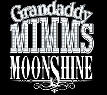 Black logo with white letters saying Grandaddy Mimm's Moonshine Distillery.