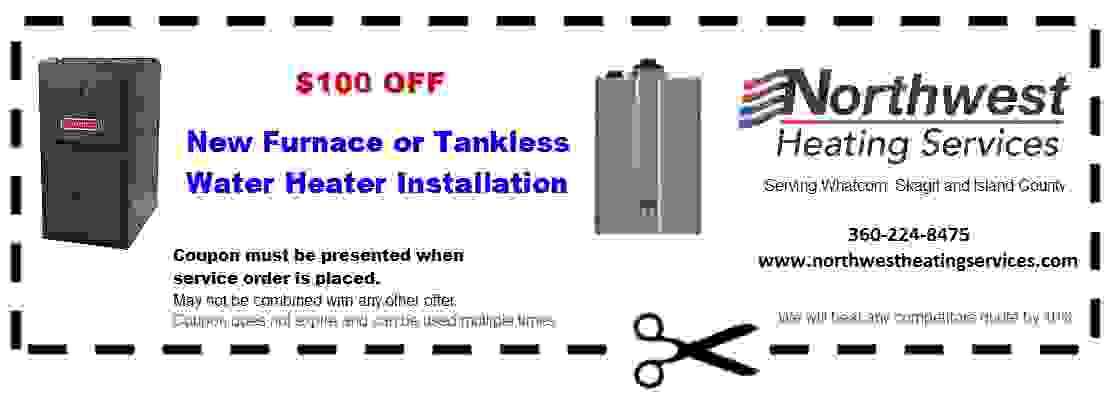 Bellingham Water Heaters $100 off coupon
