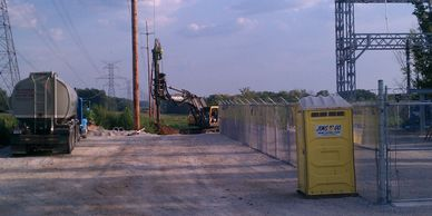 Caisson drilling for a substation power pole