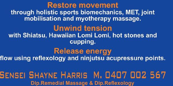 A Flyer Sharing the styles of blue zen massage the colours and contact details
