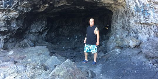 Cavern in the lava in Hawaii