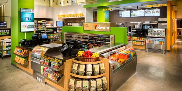 commercial vinyl wallcovering installation at a 7-eleven store